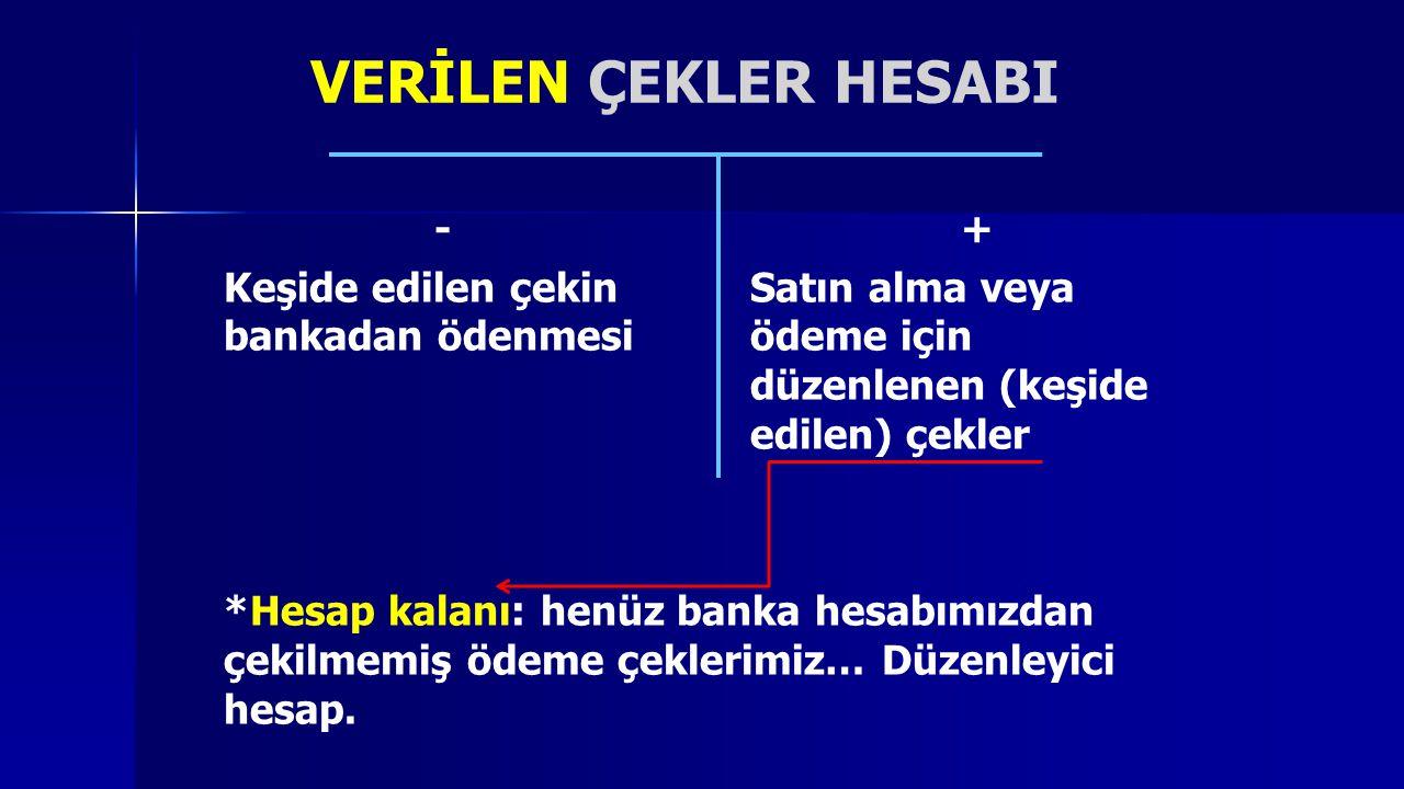 VERİLEN ÇEKLER HESABI - +