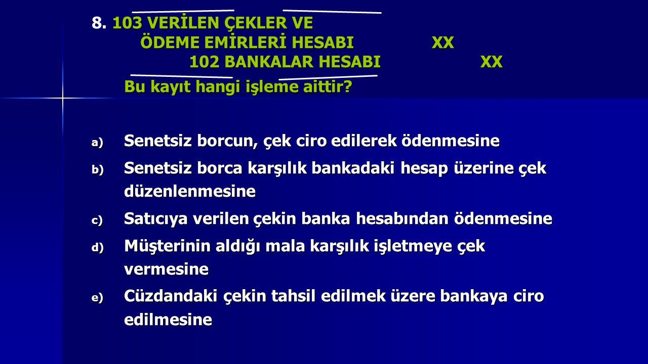 8. 103 VERİLEN ÇEKLER VE ÖDEME EMİRLERİ HESABI XX. 102 BANKALAR HESABI XX. Bu kayıt hangi işleme aittir