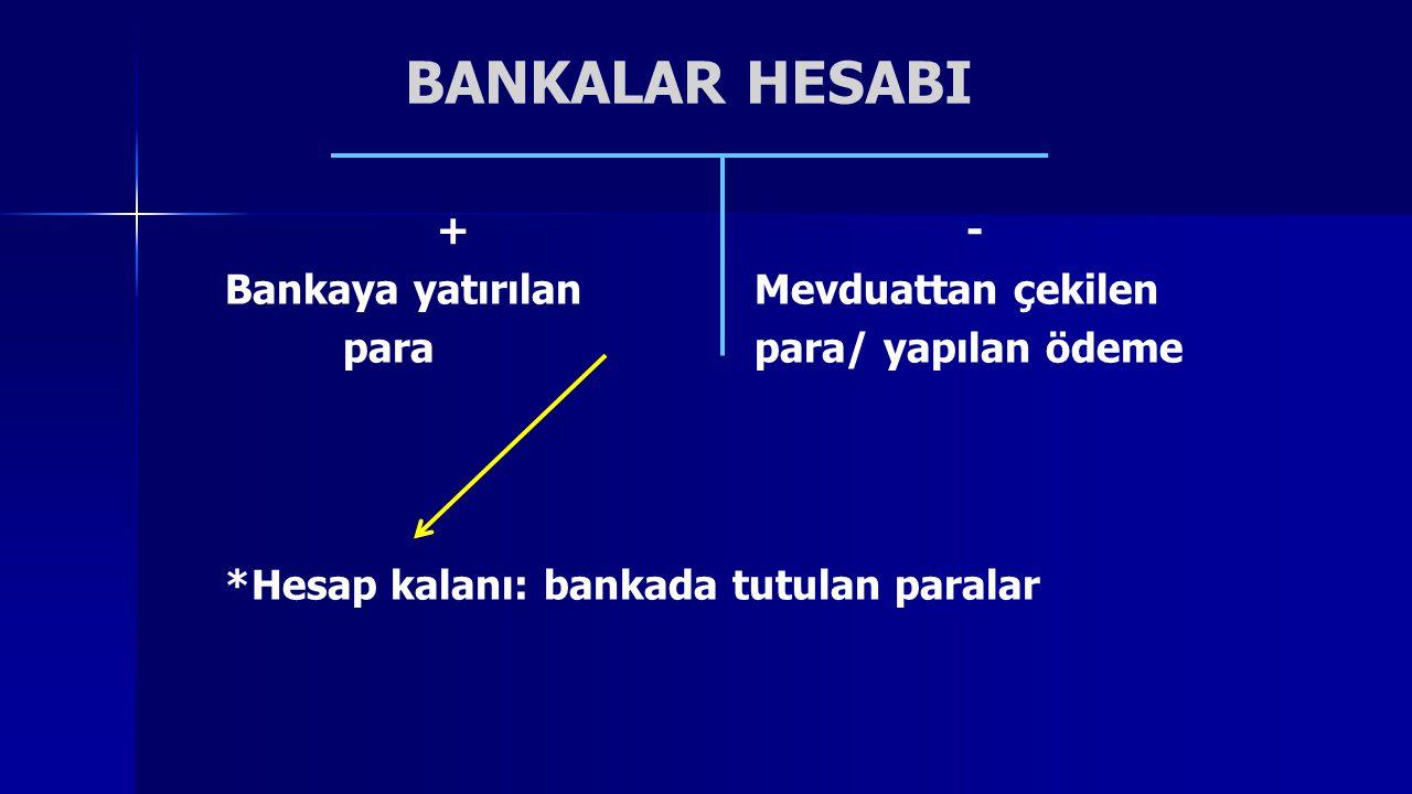 BANKALAR HESABI + - Bankaya yatırılan Mevduattan çekilen