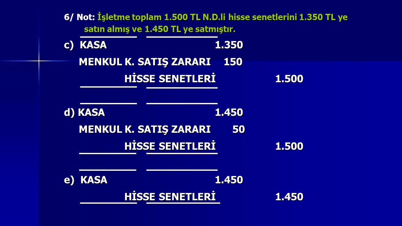 c) KASA 1.350 MENKUL K. SATIŞ ZARARI 150 HİSSE SENETLERİ 1.500