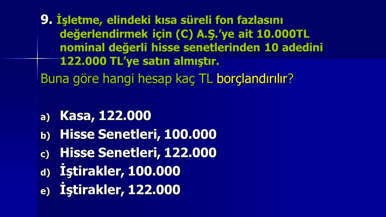 9. İşletme, elindeki kısa süreli fon fazlasını değerlendirmek için (C) A.Ş.'ye ait 10.000TL nominal değerli hisse senetlerinden 10 adedini 122.000 TL'ye satın almıştır.