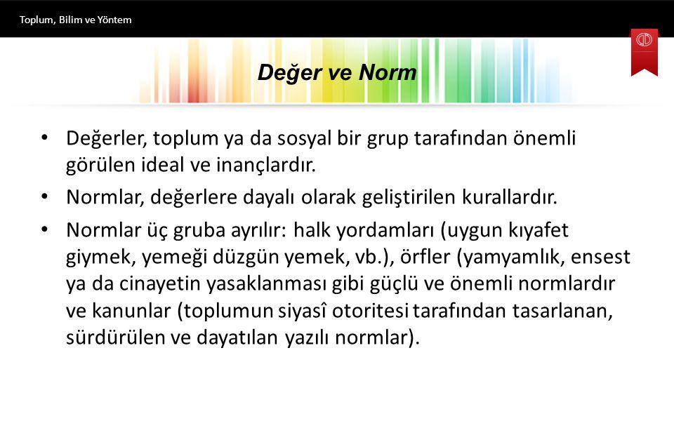 Normlar, değerlere dayalı olarak geliştirilen kurallardır.