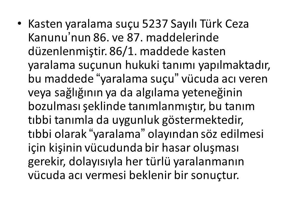 Kasten yaralama suçu 5237 Sayılı Türk Ceza Kanunu'nun 86. ve 87