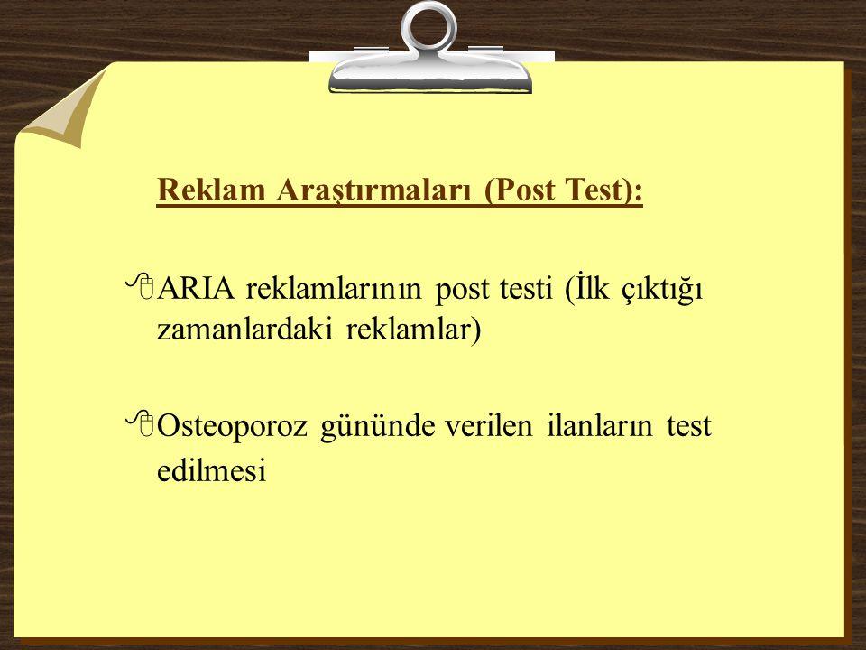 Reklam Araştırmaları (Post Test):
