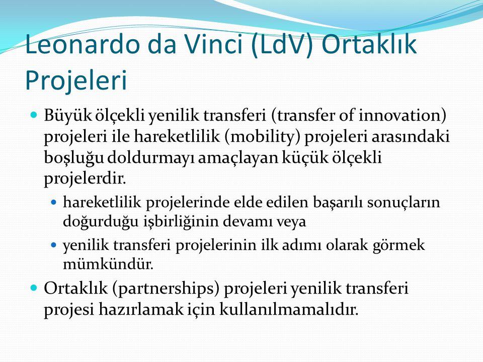 Leonardo da Vinci (LdV) Ortaklık Projeleri