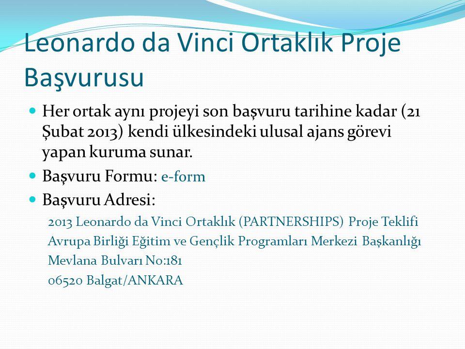 Leonardo da Vinci Ortaklık Proje Başvurusu