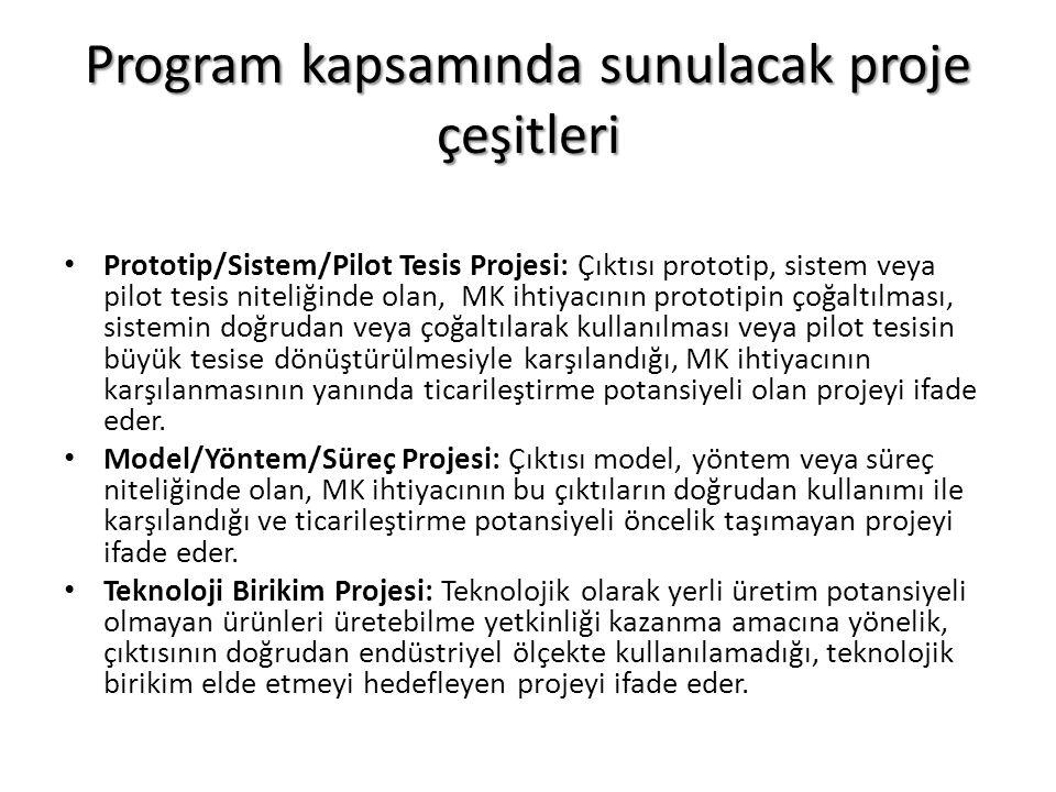 Program kapsamında sunulacak proje çeşitleri