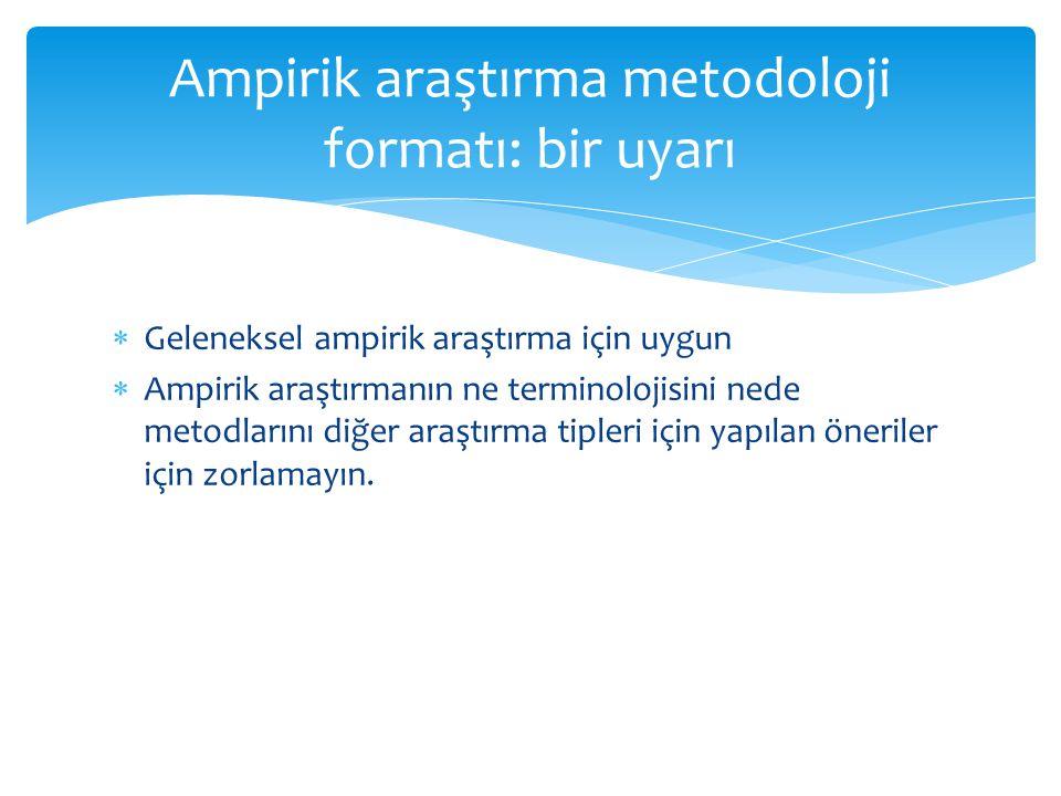 Ampirik araştırma metodoloji formatı: bir uyarı