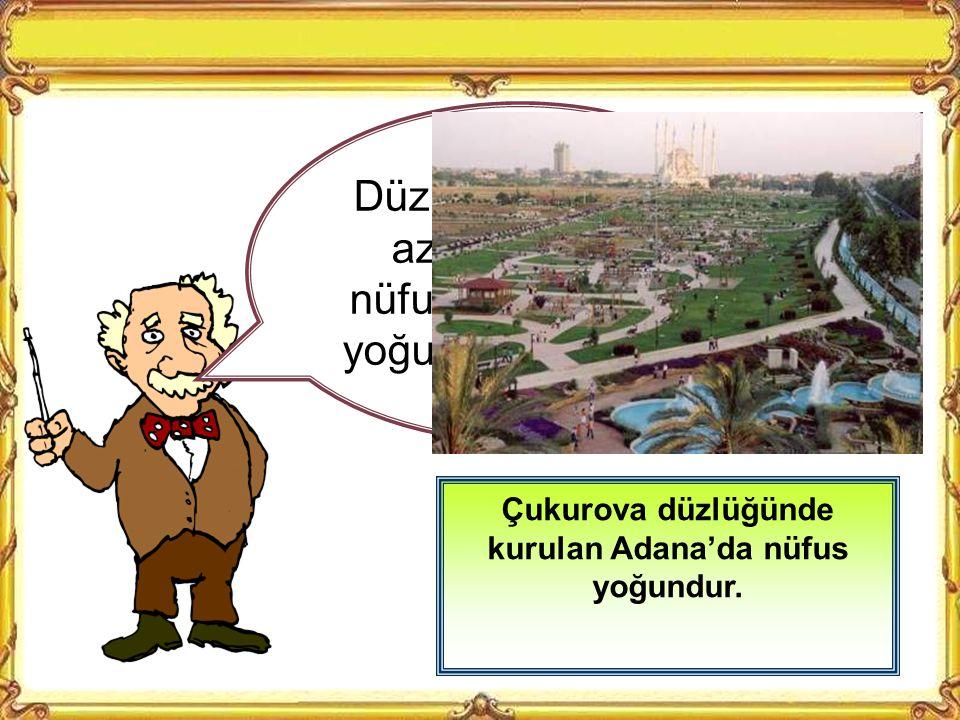Çukurova düzlüğünde kurulan Adana'da nüfus yoğundur.