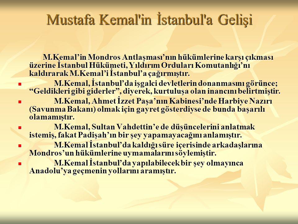 Mustafa Kemal in İstanbul a Gelişi