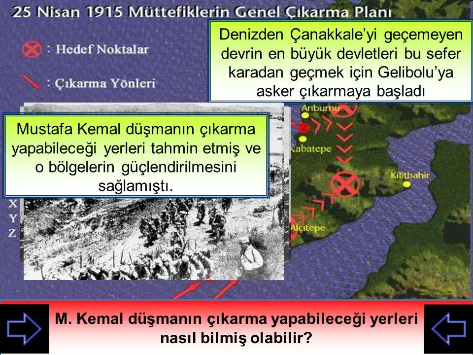 M. Kemal düşmanın çıkarma yapabileceği yerleri nasıl bilmiş olabilir