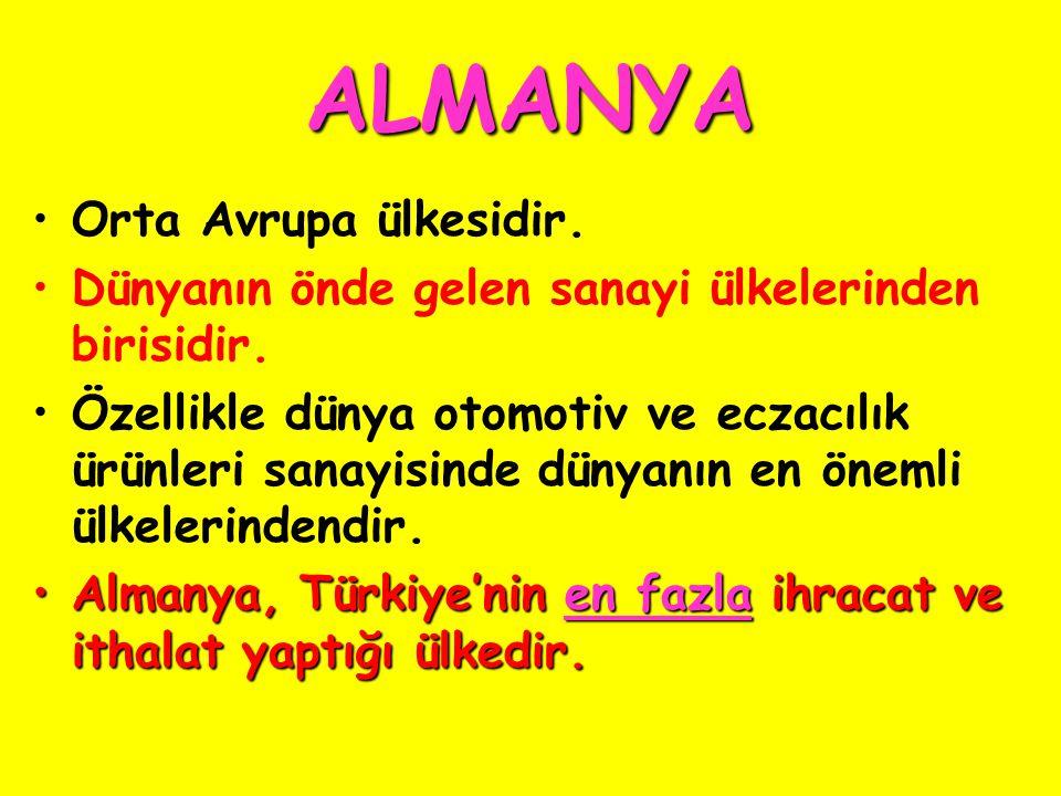 ALMANYA Orta Avrupa ülkesidir.