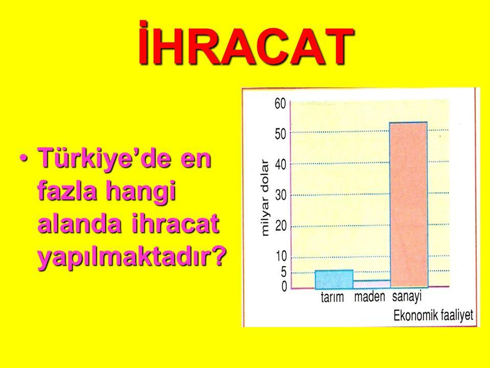 İHRACAT Türkiye'de en fazla hangi alanda ihracat yapılmaktadır
