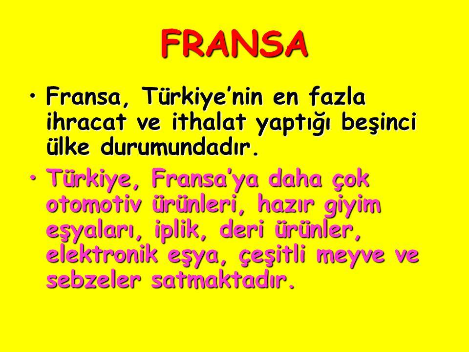 FRANSA Fransa, Türkiye'nin en fazla ihracat ve ithalat yaptığı beşinci ülke durumundadır.