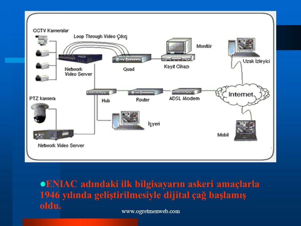 ENIAC adındaki ilk bilgisayarın askeri amaçlarla 1946 yılında geliştirilmesiyle dijtal çağ başlamış oldu.