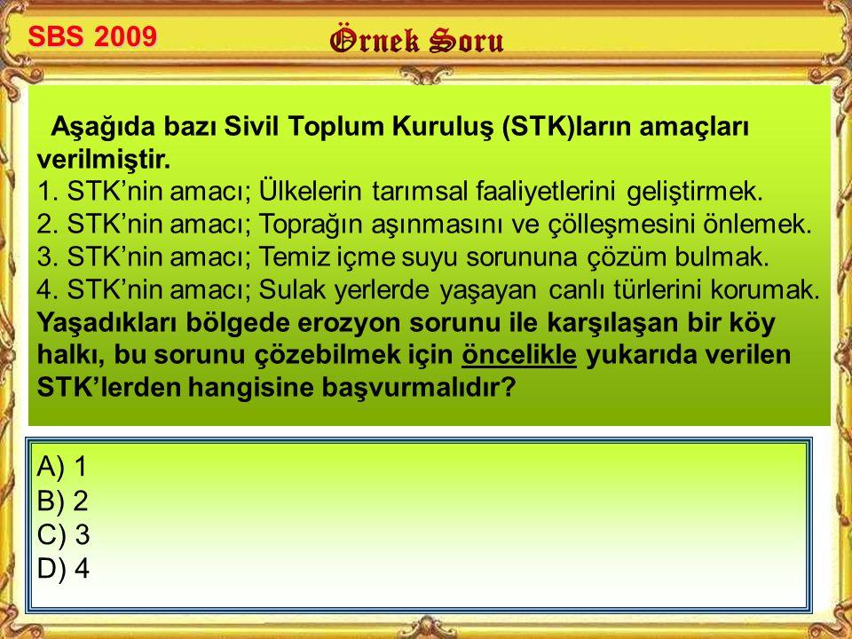 SBS 2009 Aşağıda bazı Sivil Toplum Kuruluş (STK)ların amaçları verilmiştir. 1. STK'nin amacı; Ülkelerin tarımsal faaliyetlerini geliştirmek.