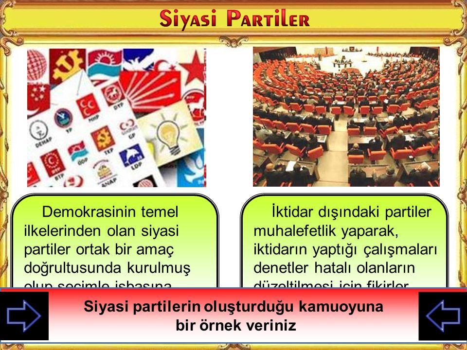 Siyasi partilerin oluşturduğu kamuoyuna bir örnek veriniz
