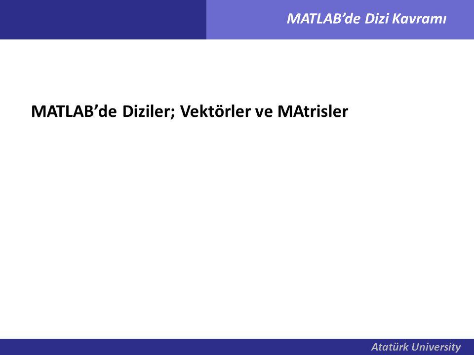 MATLAB'de Diziler; Vektörler ve MAtrisler