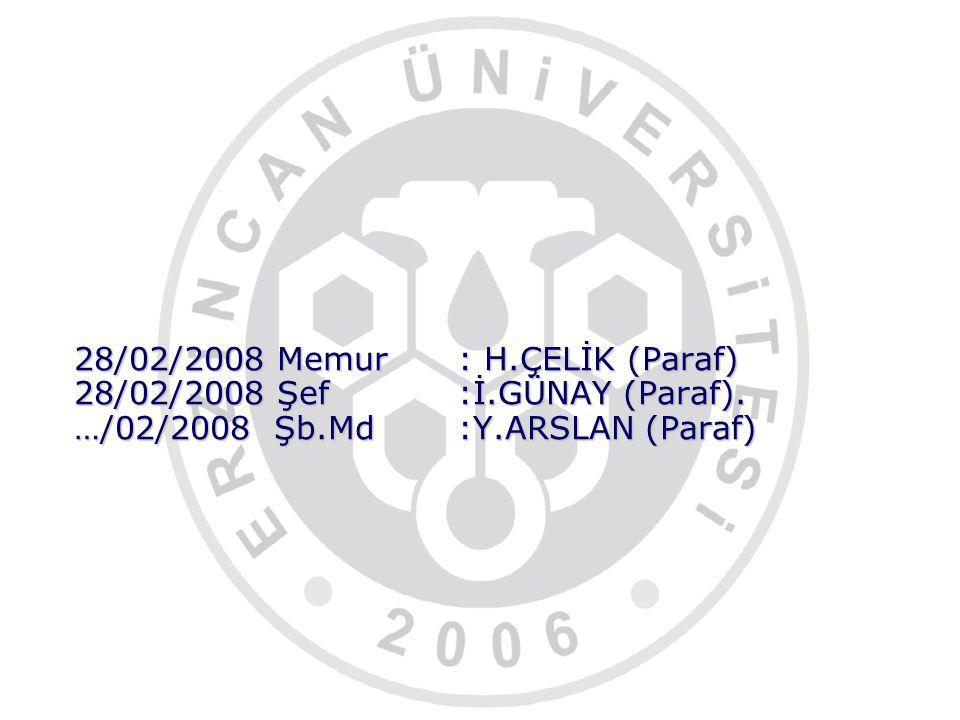 28/02/2008 Memur. : H. ÇELİK (Paraf) 28/02/2008 Şef. :İ. GÜNAY (Paraf)
