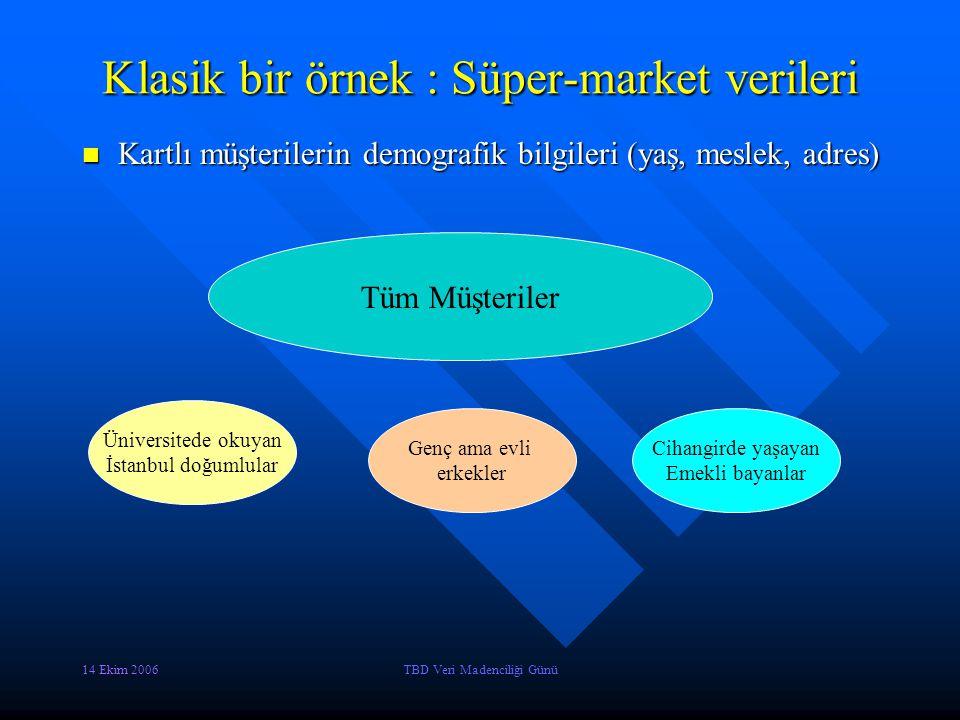 Klasik bir örnek : Süper-market verileri