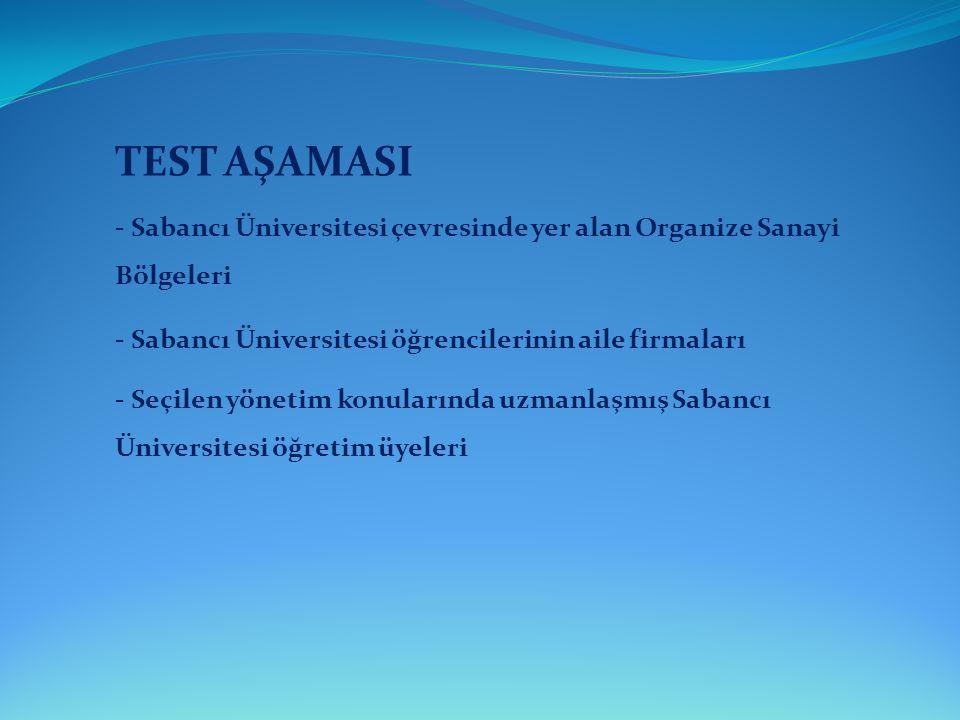 TEST AŞAMASI - Sabancı Üniversitesi çevresinde yer alan Organize Sanayi Bölgeleri. - Sabancı Üniversitesi öğrencilerinin aile firmaları.
