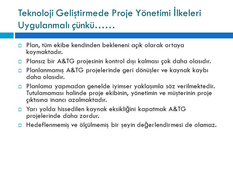 Teknoloji Geliştirmede Proje Yönetimi İlkeleri Uygulanmalı çünkü……