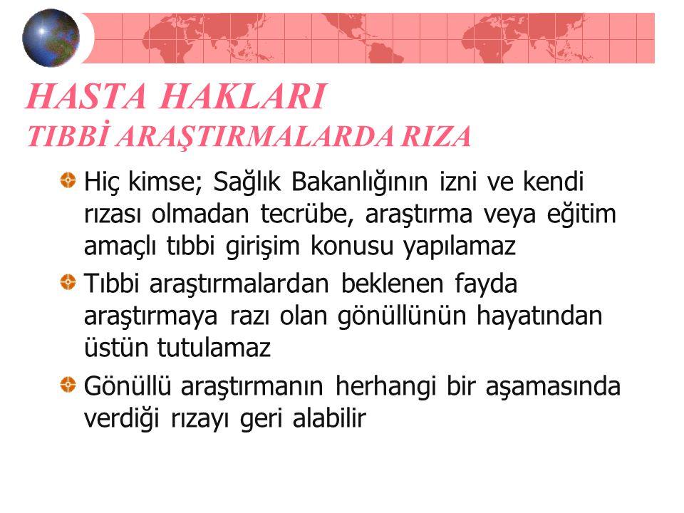 HASTA HAKLARI TIBBİ ARAŞTIRMALARDA RIZA