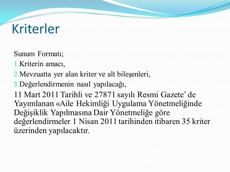 Kriterler Sunum Formatı; Kriterin amacı, Mevzuatta yer alan kriter ve alt bileşenleri, Değerlendirmenin nasıl yapılacağı,