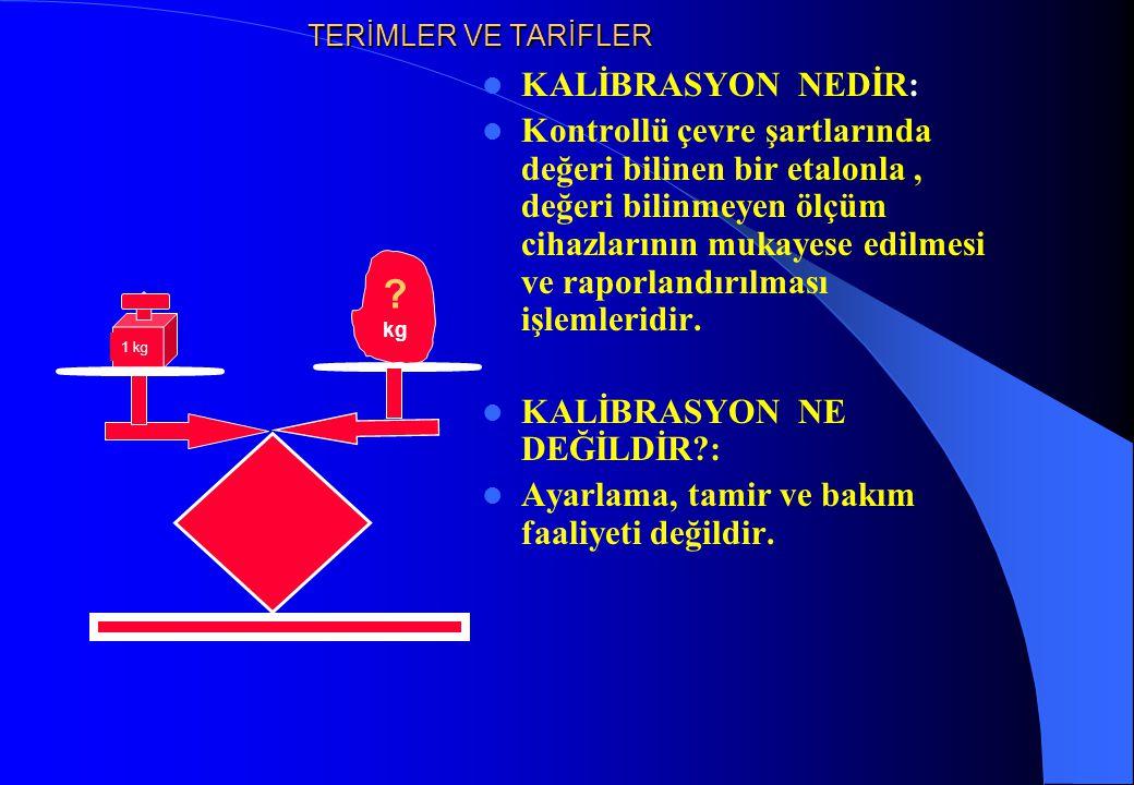 TERİMLER VE TARİFLER KALİBRASYON NEDİR: