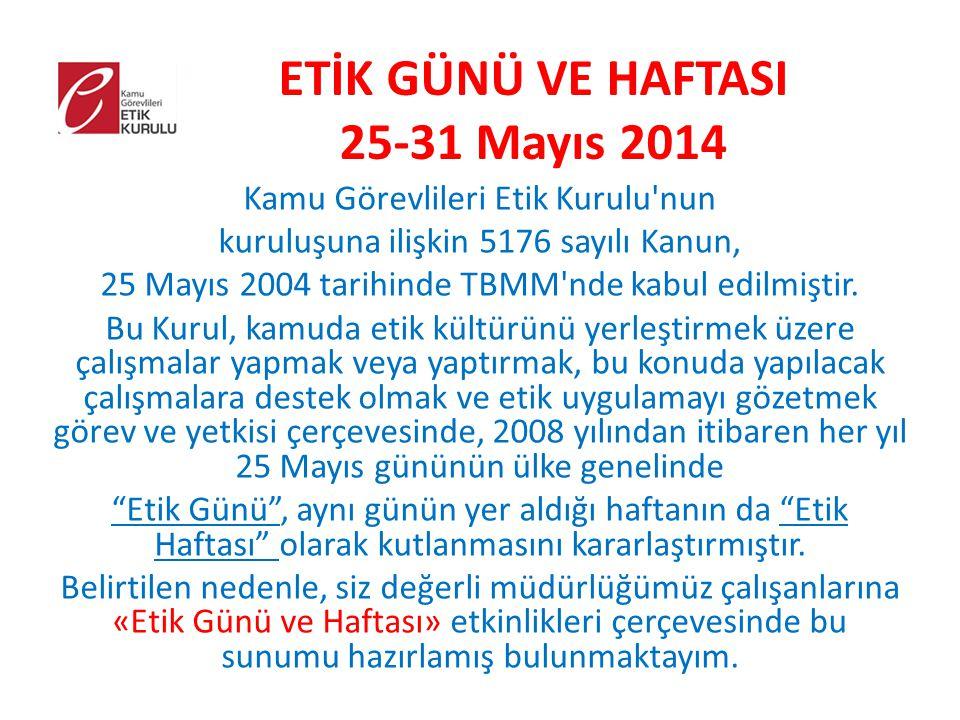 ETİK GÜNÜ VE HAFTASI 25-31 Mayıs 2014