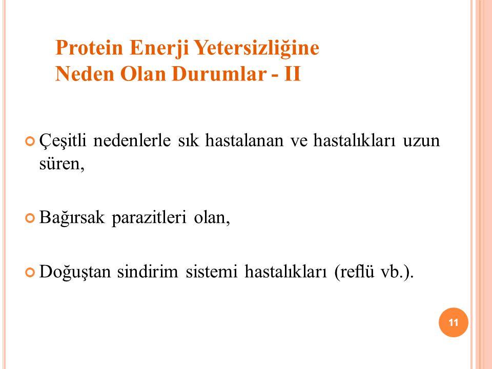 Protein Enerji Yetersizliğine Neden Olan Durumlar - II
