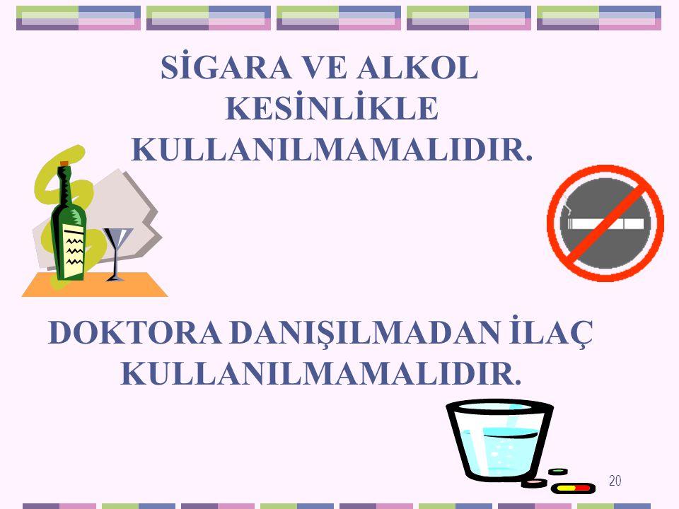 SİGARA VE ALKOL KESİNLİKLE KULLANILMAMALIDIR.