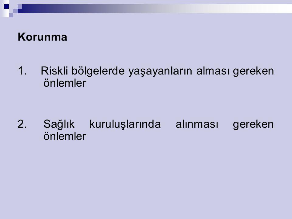 Korunma 1. Riskli bölgelerde yaşayanların alması gereken önlemler.