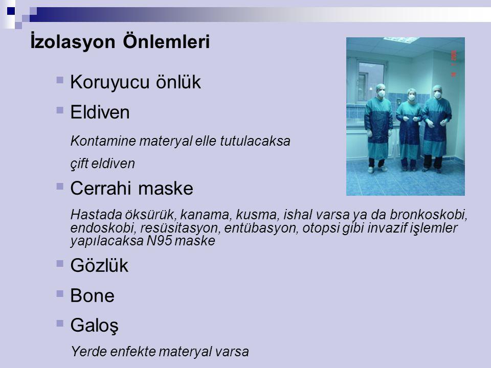 İzolasyon Önlemleri Koruyucu önlük Eldiven Cerrahi maske Gözlük Bone