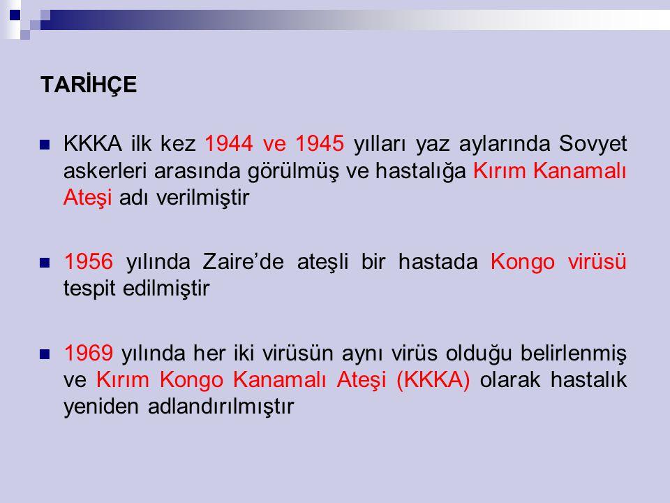 TARİHÇE KKKA ilk kez 1944 ve 1945 yılları yaz aylarında Sovyet askerleri arasında görülmüş ve hastalığa Kırım Kanamalı Ateşi adı verilmiştir.