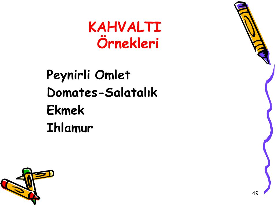 KAHVALTI Örnekleri Peynirli Omlet Domates-Salatalık Ekmek Ihlamur