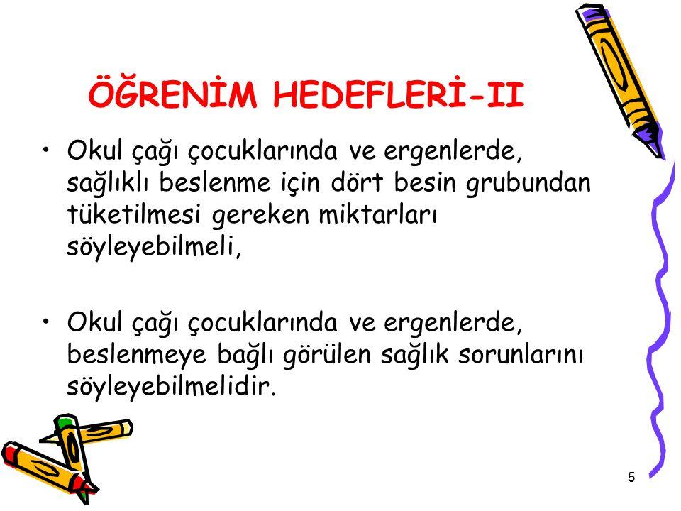 ÖĞRENİM HEDEFLERİ-II