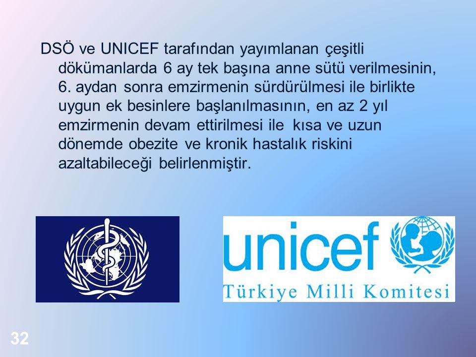 DSÖ ve UNICEF tarafından yayımlanan çeşitli dökümanlarda 6 ay tek başına anne sütü verilmesinin, 6.