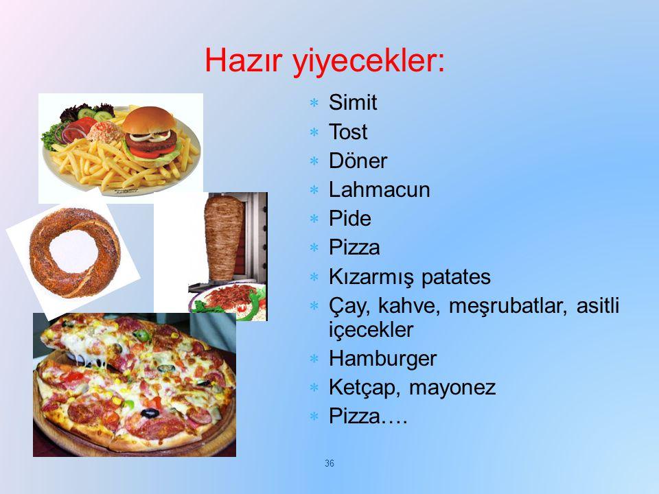 Hazır yiyecekler: Simit Tost Döner Lahmacun Pide Pizza