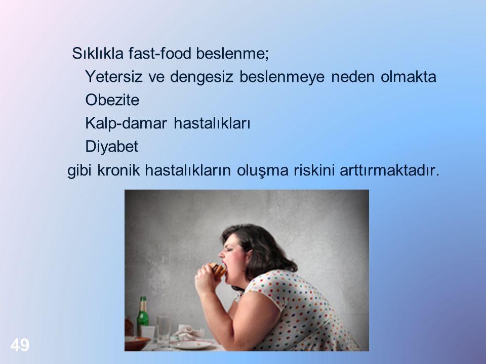 Sıklıkla fast-food beslenme; Yetersiz ve dengesiz beslenmeye neden olmakta Obezite Kalp-damar hastalıkları Diyabet gibi kronik hastalıkların oluşma riskini arttırmaktadır.