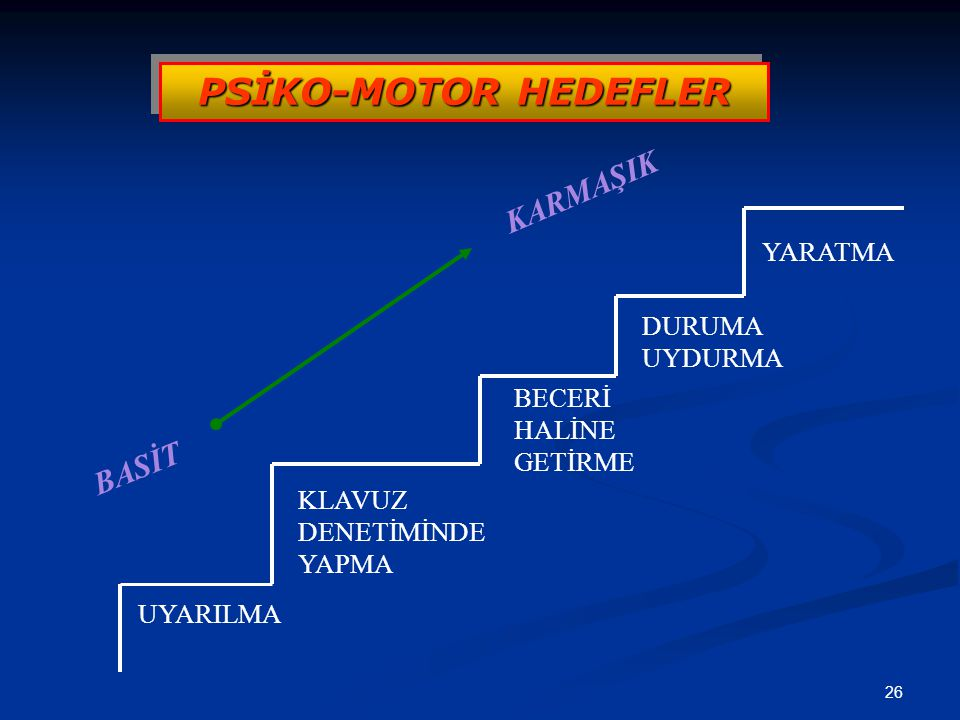 PSİKO-MOTOR HEDEFLER KARMAŞIK BASİT YARATMA DURUMA UYDURMA