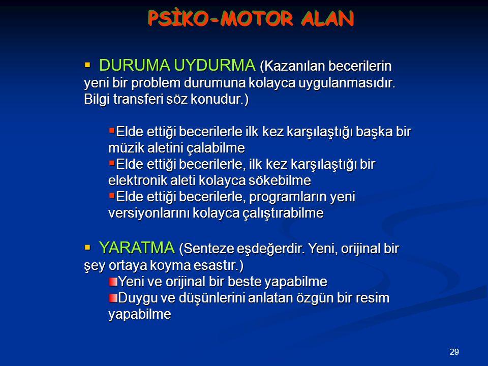 PSİKO-MOTOR ALAN DURUMA UYDURMA (Kazanılan becerilerin yeni bir problem durumuna kolayca uygulanmasıdır. Bilgi transferi söz konudur.)