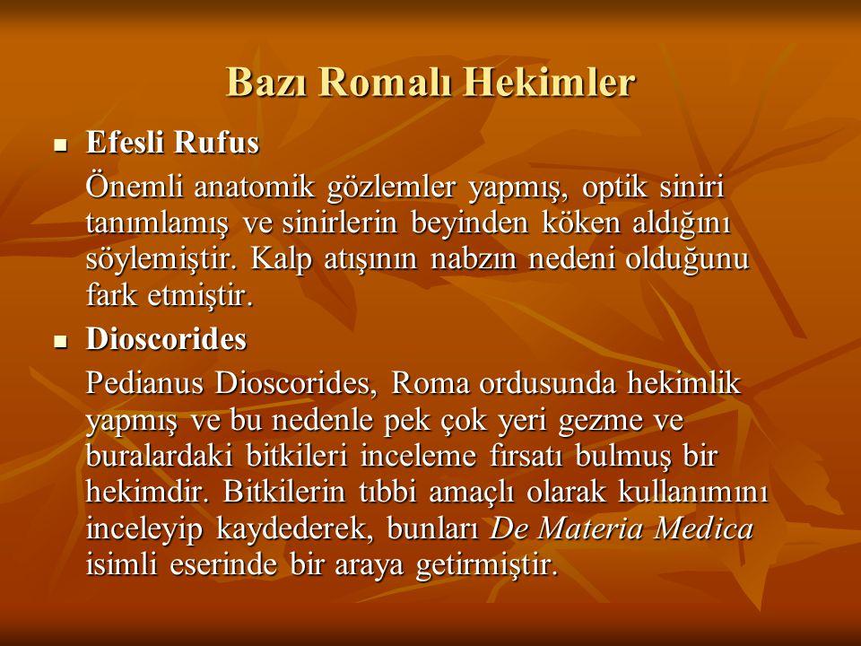 Bazı Romalı Hekimler Efesli Rufus