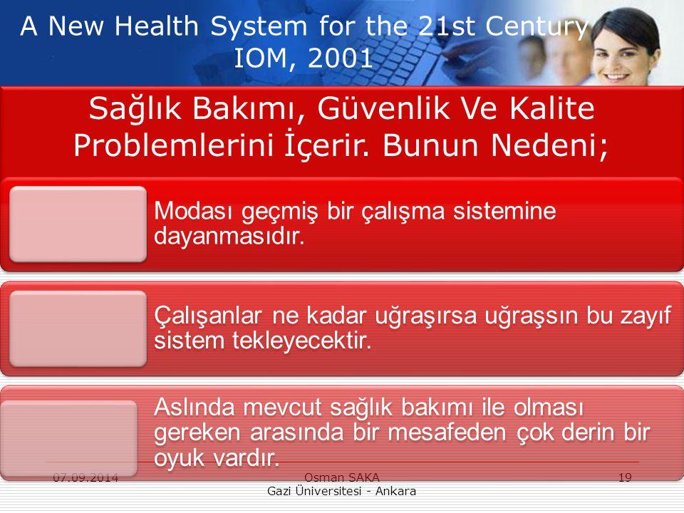 Sağlık Bakımı, Güvenlik Ve Kalite Problemlerini İçerir. Bunun Nedeni;