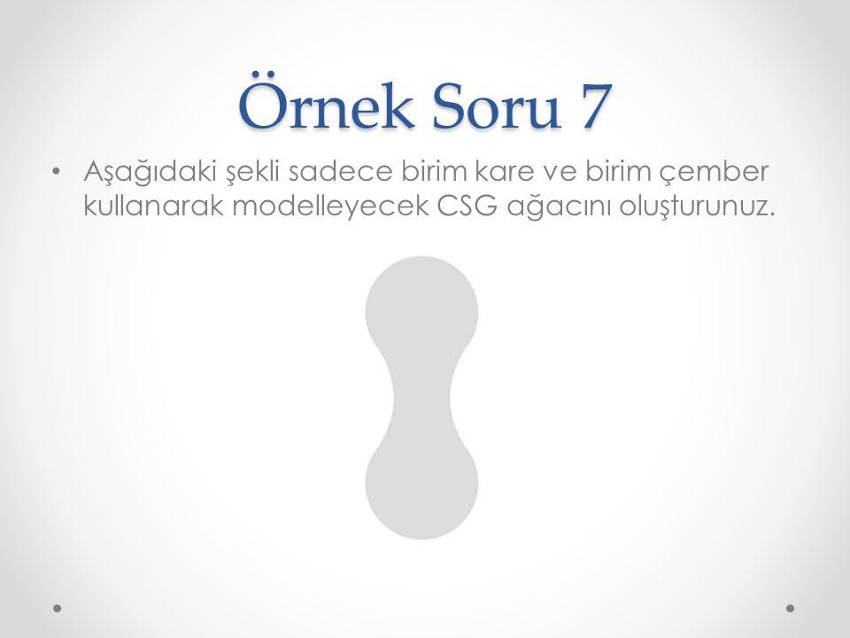 Örnek Soru 7 Aşağıdaki şekli sadece birim kare ve birim çember kullanarak modelleyecek CSG ağacını oluşturunuz.