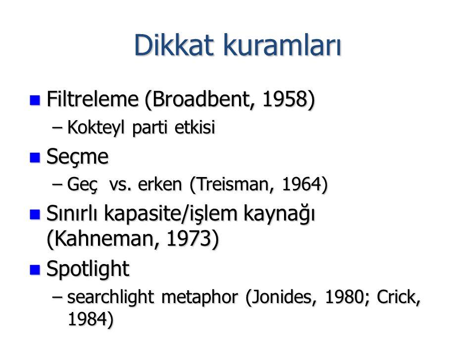 Dikkat kuramları Filtreleme (Broadbent, 1958) Seçme