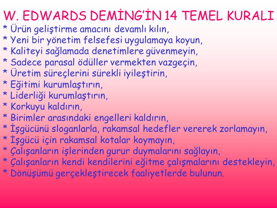 W. EDWARDS DEMİNG'İN 14 TEMEL KURALI