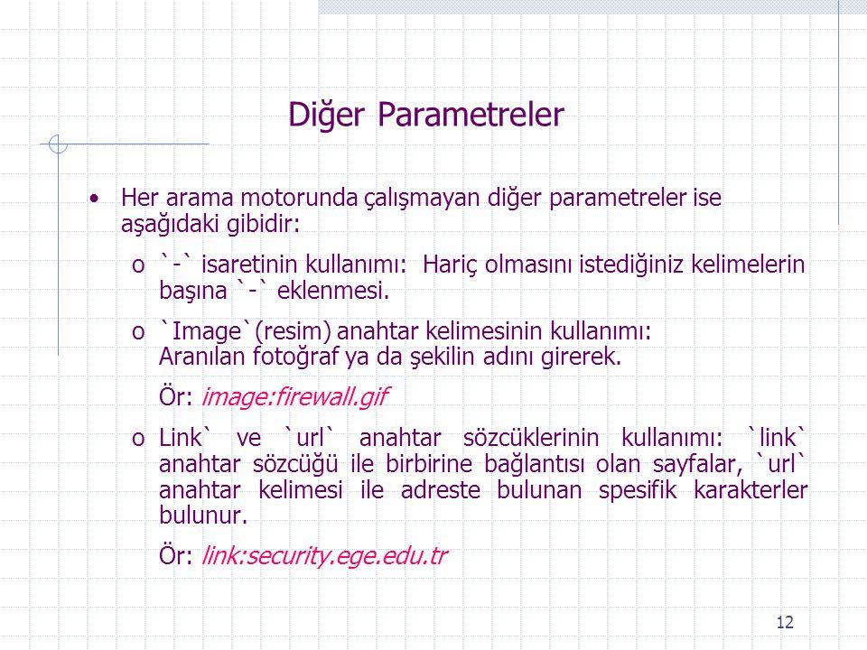 Diğer Parametreler Her arama motorunda çalışmayan diğer parametreler ise aşağıdaki gibidir: