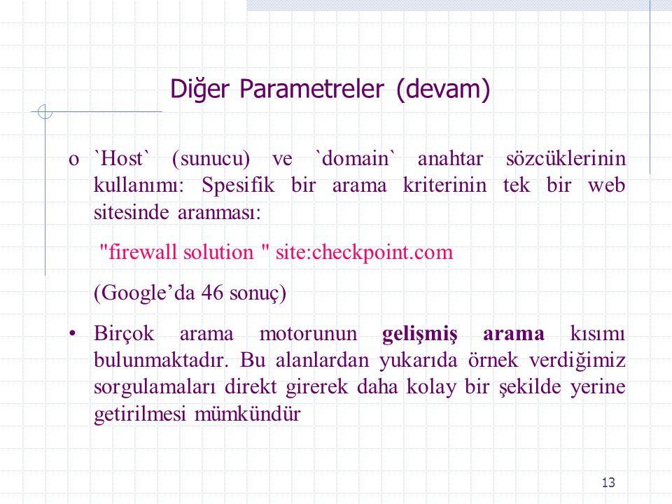 Diğer Parametreler (devam)