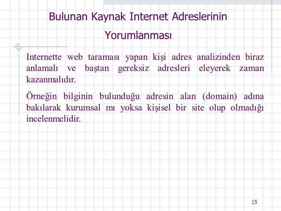 Bulunan Kaynak Internet Adreslerinin Yorumlanması